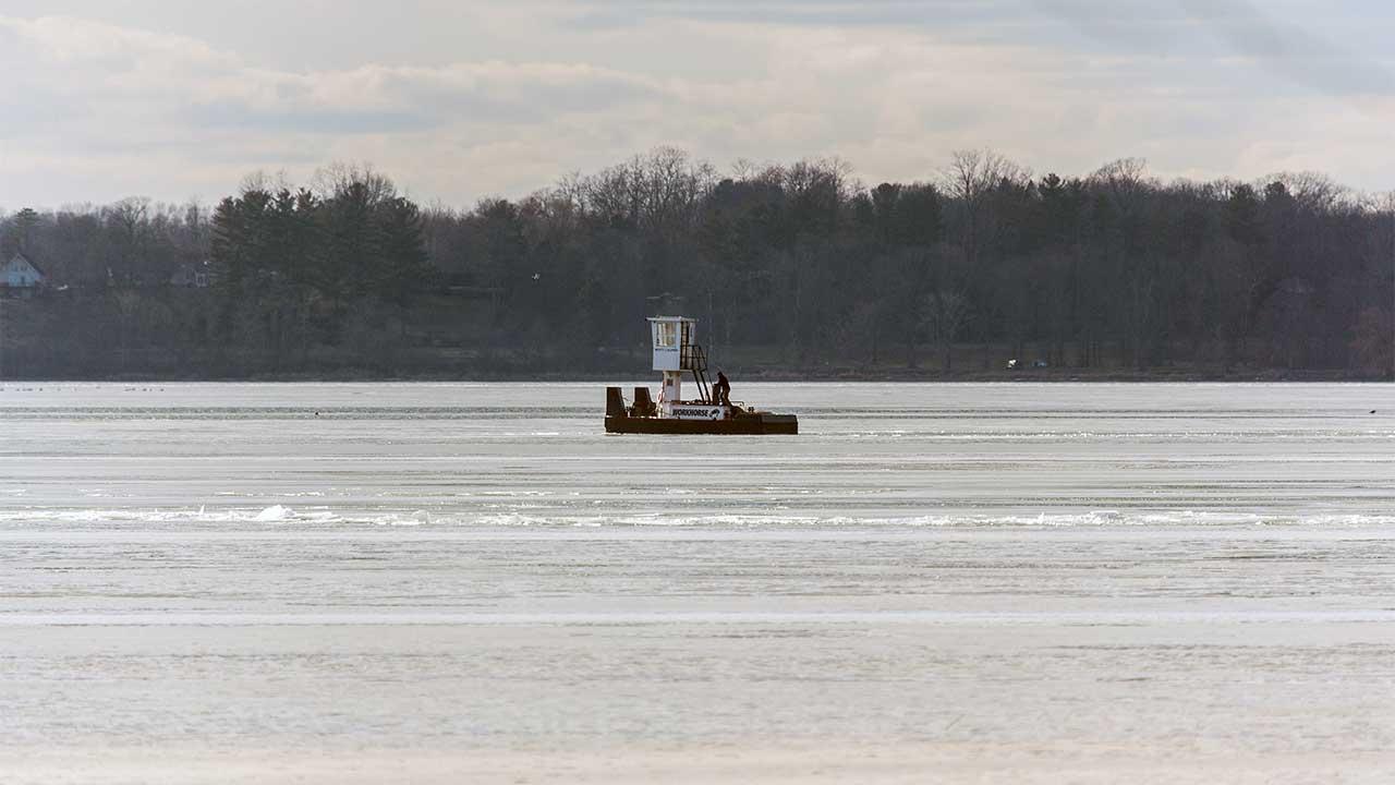 Icebreaker barge on north end of Cayuga Lake Friday